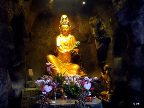 Gold Buddha is stunning yet not the main feature of this city temple.
