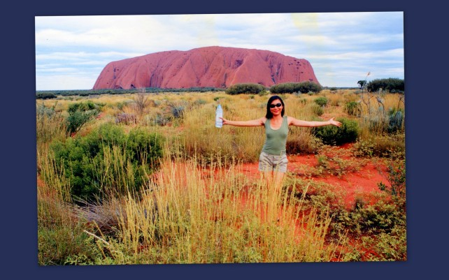 Miss Tsai at Uluru - the center of Australia.
