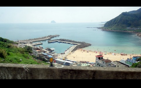 Taiwan's north shore, near Keelung.  As seen from the daily 'shuttle bus' to Tamsui - a 2 hour journey.