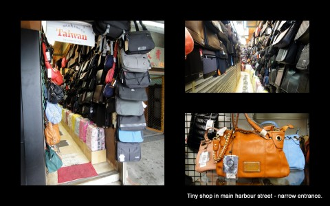 This shop must have the narrowest entrance  - a bit over one meter in width.  Narrow passage leads out the back to a larger room.  They sell quality handbags, back-packs, and a few suit cases.  I found this shop in the main street opposite the harbour at Keelung.