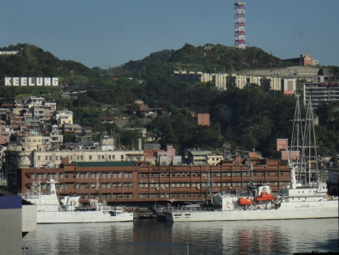 Beautiful day at Keelung, August 4th. Twin masts of Rainbow Warrior III - far right.