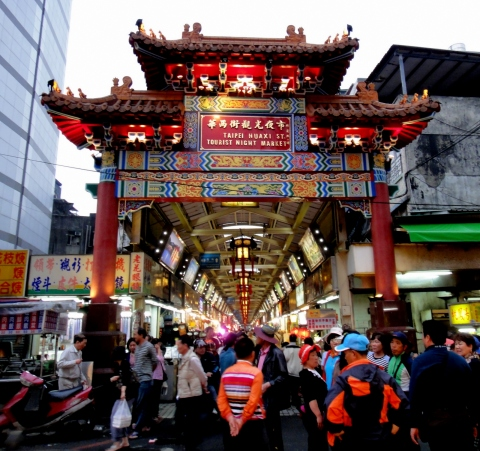 Hauxi Street arcade is within the night market area outside.